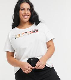 Белая футболка с прямоугольным логотипом на груди Levis-Белый