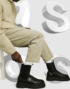 Черные ботинки челси из искусственной кожи ASOS DESIGN-Черный цвет