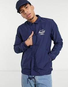 Спортивная куртка на пуговицах с кулиской и логотипом Herschel Supply Co-Темно-синий