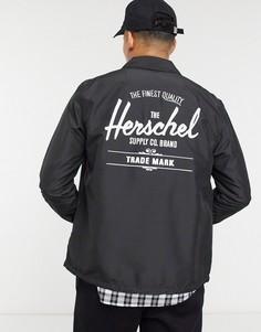 Спортивная куртка на пуговицах с кулиской и логотипом Herschel Supply Co-Черный цвет