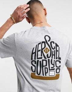Серая футболка с круглым вырезом и логотипом на груди Herschel Supply Co-Серый
