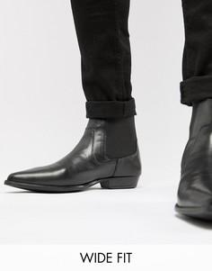 Черные ботинки челси для широкой стопы из искусственной кожи ASOS DESIGN-Черный
