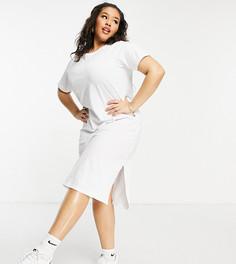 Белое длинное платье-футболка Brave Soul Plus Otto-Белый