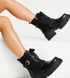 Черные ботинки для широкой стопы намассивной подошве сошнуровкой ипряжками Simmi London Kai-Черный
