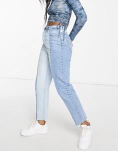 Голубые прямые джинсы с контрастным двухцветным дизайном и необработанными краями Stradivarius-Голубой