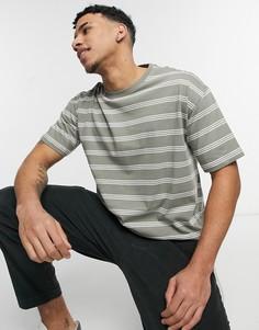 Oversized-футболка в полоску цвета хаки New Look-Зеленый цвет