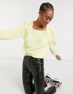 Желтый джемпер с квадратным вырезом Selected Femme