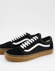 Черно-белые кроссовки на каучуковой подошве Vans Old Skool-Черный цвет