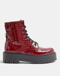 Бордовые лакированные ботинки сузором крокодиловой кожи натолстой подошве Topshop-Красный