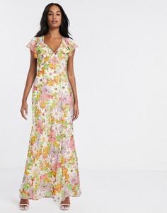 Платье макси с цветочным принтом в винтажном стиле ASOS DESIGN-Многоцветный