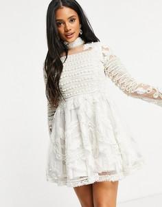 Белое свадебное приталенное платье со свободной юбкой, длинными рукавами и декоративной отделкой A Star Is Born-Белый