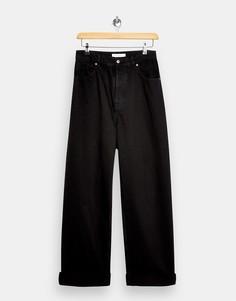 Черные выбеленные суженные книзу джинсы в винтажном стиле Topshop-Черный цвет