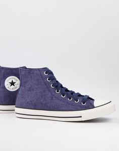 Высокие кроссовки насыщенного темно-синего цвета извыбеленного денима Converse Chuck Taylor All Star-Темно-синий