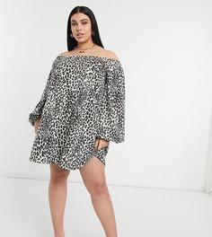 Свободное платье-свитшот мини слеопардовым принтом ASOS DESIGN Curve-Черный цвет