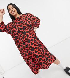 Оранжевое пятнистое oversized-платье сприсборенной юбкой миди Native Youth Plus-Оранжевый цвет