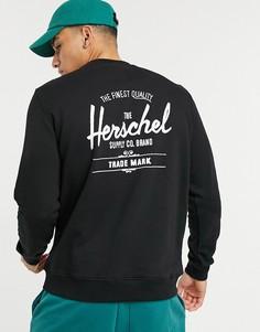 Свитшот с принтом на груди и круглым вырезом Herschel Supply Co-Черный цвет