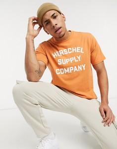 Оранжевая футболка с круглым вырезом и логотипом Herschel Supply Co-Оранжевый цвет