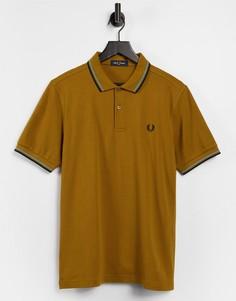 Светло-коричневое поло с двойным кантом Fred Perry-Коричневый цвет