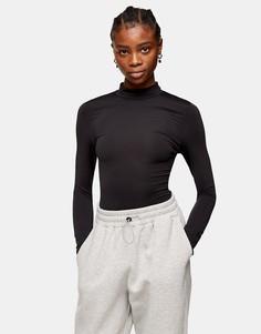 Черное облегающее боди с длинными рукавами и воротником-стойкой Topshop-Черный цвет