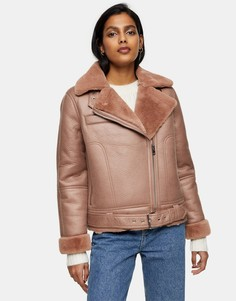 Пыльно-розовая куртка авиатор изискусственной кожи Topshop-Розовый цвет