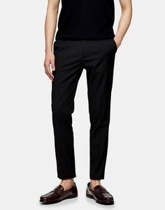 Черные узкие брюки из переработанного материала Topman Considered-Черный цвет