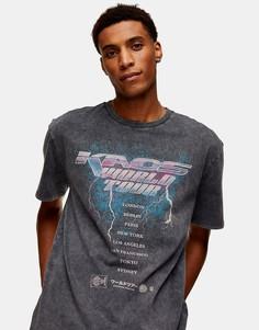 Черная футболка с принтом Topman-Черный цвет