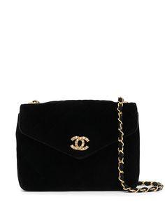 Chanel Pre-Owned стеганая сумка через плечо со стразами и логотипом CC
