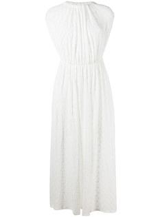 Jil Sander плиссированное платье с цветочной вышивкой