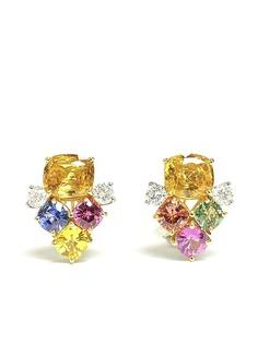 BAYCO серьги-гвоздики из желтого золота и платины с сапфирами и бриллиантами