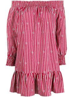 Michael Michael Kors полосатое платье с открытыми плечами