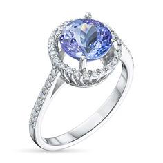 Кольцо из белого золота с танзанитом и бриллиантом э0942кц01210406 ЭПЛ Якутские Бриллианты