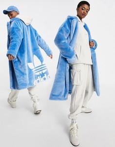 Голубая шуба из искусственного меха adidas x IVY PARK-Голубой