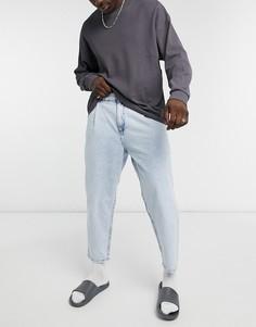 Светло-синие свободные джинсы Bershka-Голубой