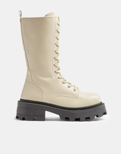Светло-бежевые ботинки до середины икры Topshop-Белый