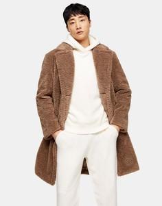 Коричневое плюшевое двубортное пальто Topman-Коричневый цвет