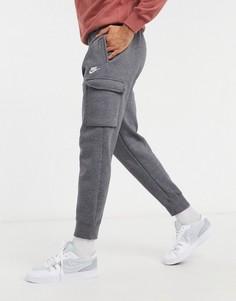 Темно-серые джоггеры карго с манжетами Nike Club-Серый