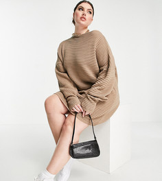 Серо-коричневое трикотажное свободное платье с открытыми плечами In The Style Plus x Megan Mckenna-Бежевый