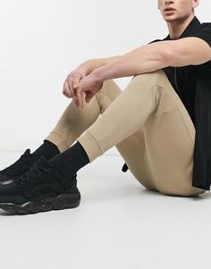 Бежевые узкие джоггеры в рубчик совставками на коленях Bershka-Бежевый