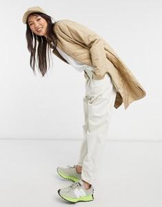 Стеганое удлиненное пальто бежевого цвета Selected Femme-Бежевый
