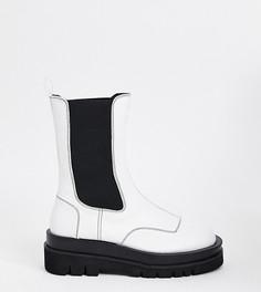 Белые ботинки челси из экокожи на массивной подошве для широкой стопы Z_Code_Z Wide Fit Exclusive Nora-Белый