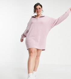 Эксклюзивное платье выбеленного розового цвета с высоким воротником COLLUSION Plus-Розовый цвет