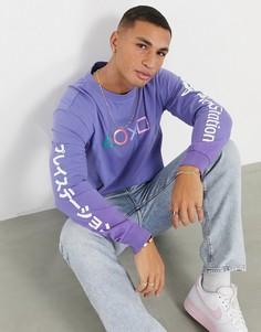 Фиолетовая футболка с длинными рукавами Bershka Playstation-Фиолетовый цвет