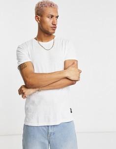 Белая асимметричная футболка свободного кроя Bershka-Белый