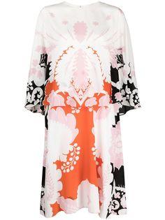 Valentino многослойное платье миди с графичным принтом