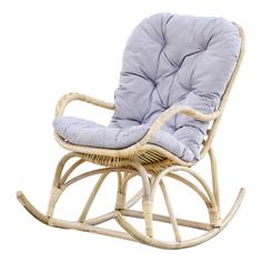 Кресло-качалка Rattan grand white wash с подушками