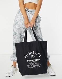 Темно-синяя сумка-шопер с логотипом Fiorucci Commende-Темно-синий