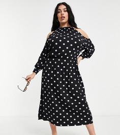 Приталенное платье черного цвета всиреневый горошек соткрытыми плечами Simply Be-Многоцветный