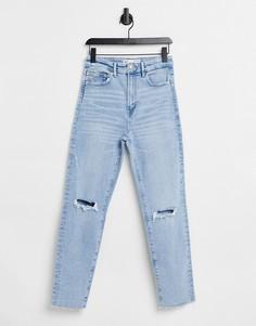 Эластичные узкие джинсы светло-голубого цвета из органического хлопка с завышенной талией и рваной отделкой Stradivarius-Голубой