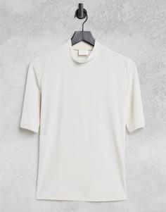 Кремовая футболка с высоким воротником Vila-Белый