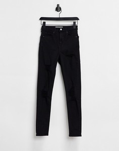 Черные зауженные джинсы Topshop Jamie со рваными элементами-Черный цвет